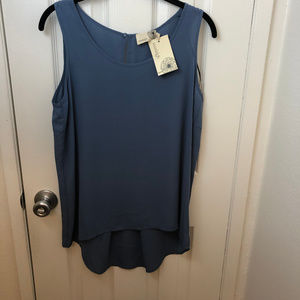 NWT Everleigh Sleeveless Blue Top, Hi-Low hem. S/P
